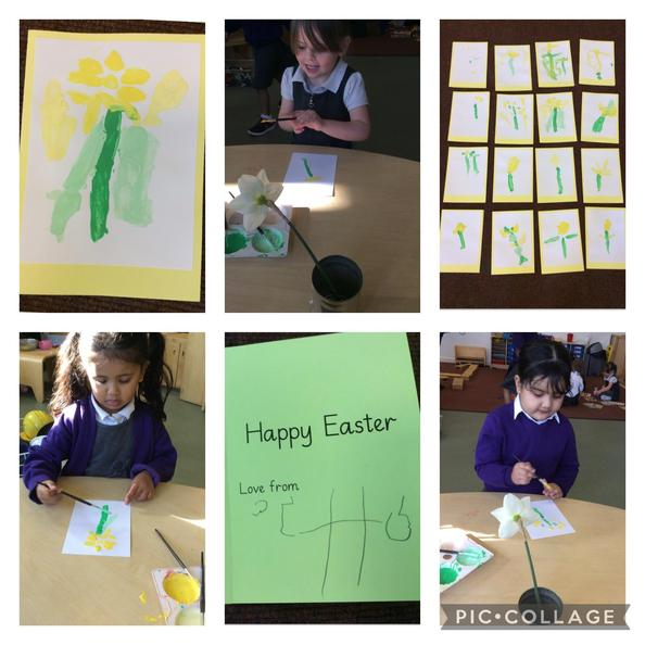 We created Easter cards by doing observational paintings of daffodils.
