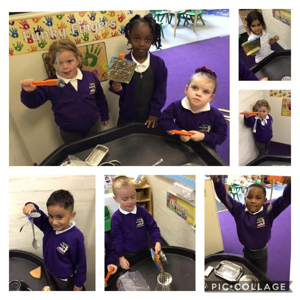 Today the children have been finding out what sticks to a magnet.