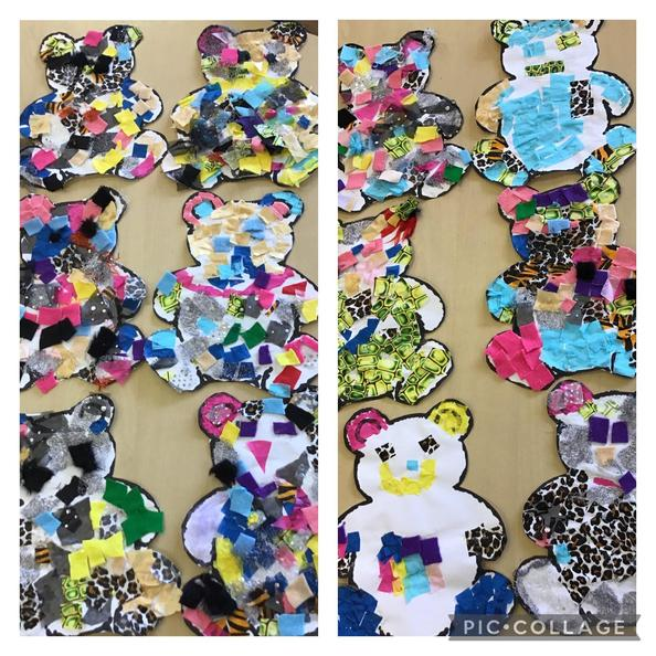 Our completed teddy bear collages ready for display.