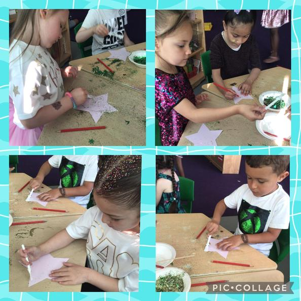 We decorated stars with glitter and wrote messages to thank the staff for their hard work.
