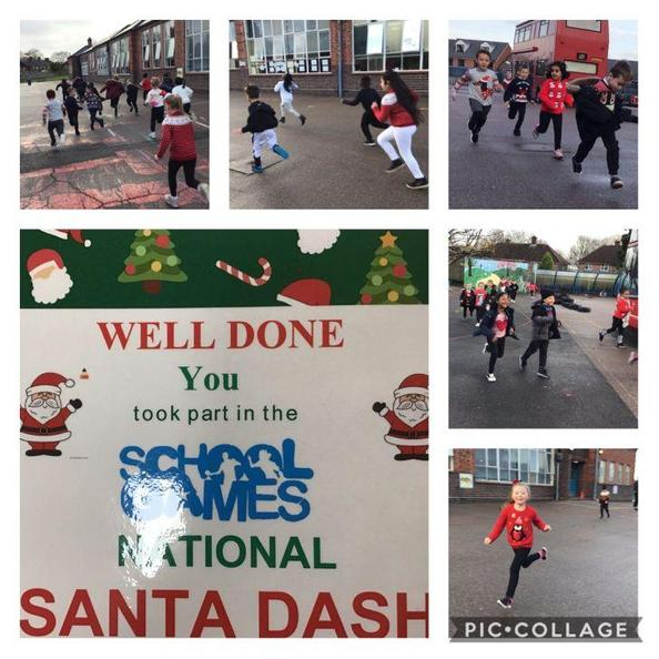 Dashing through the playground...we won the Santa Dash! We were so proud of our medals!