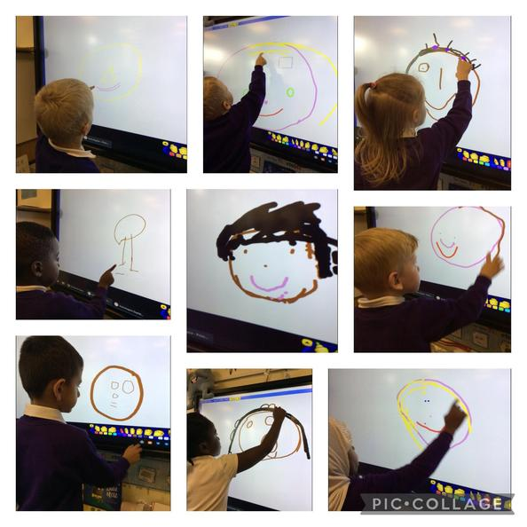 We have been thinking about friends. We used the interactive whiteboard to draw them.