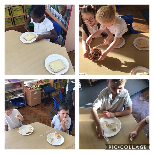 We followed instructions to make jam sandwiches!