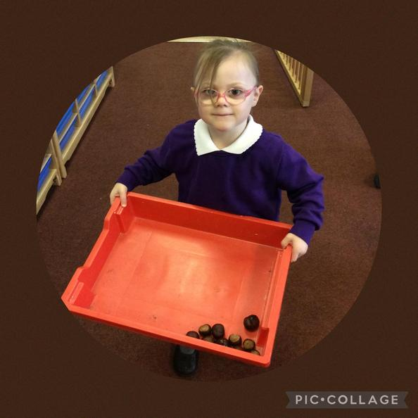 The children collected items during the weekend to show to us.