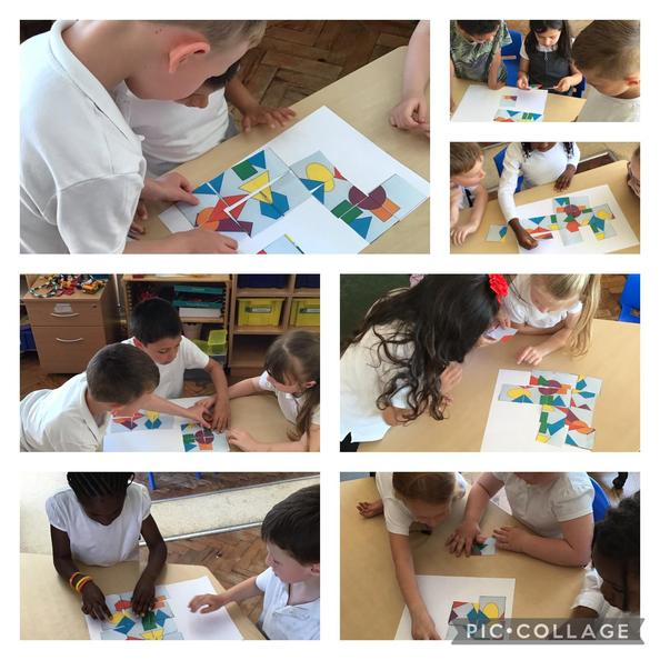 We worked together to make our shape puzzles. Super team work!