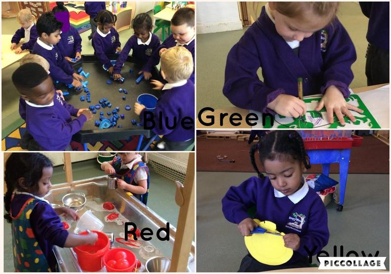 This week we learnt about red, yellow, blue, orange and green.