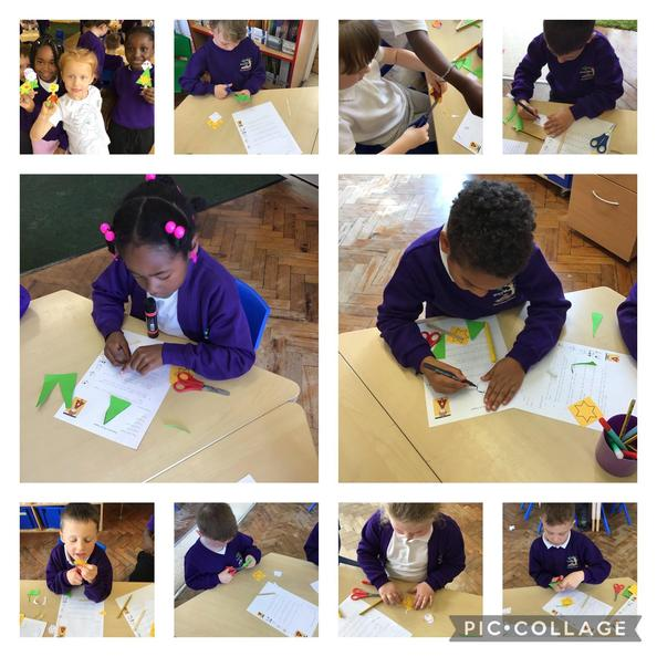 Following instructions to make a toy Superhero puppet.