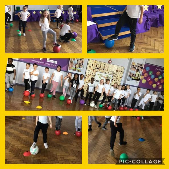We are having a ball! In P.E we worked on our ball skills.