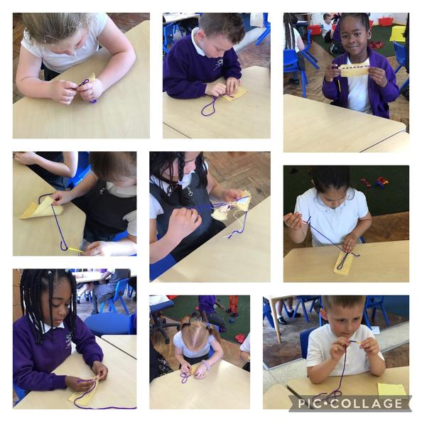 We have been practising our sewing skills today!