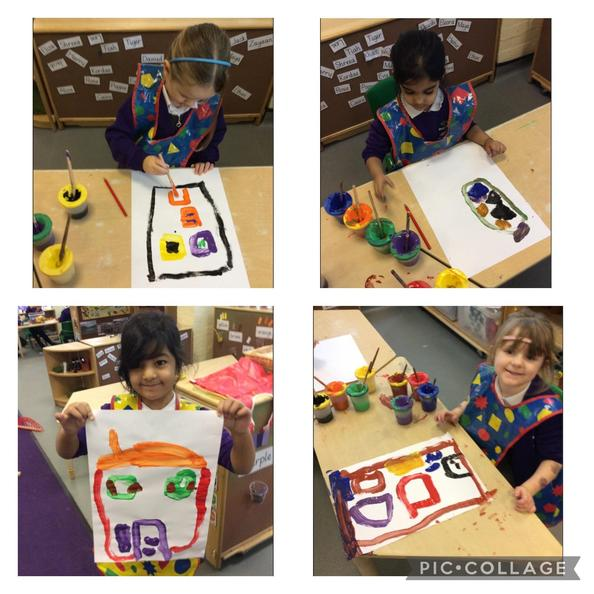 We painted pictures of our houses. We chose the correct colour for our door.