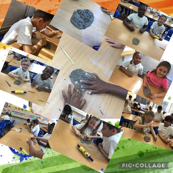 Inspired by Indian designs, we used sculpting tools to make a pattern on clay!