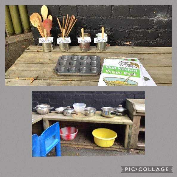 We really like playing in our mud kitchen.