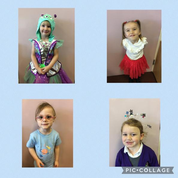 The children dressed up as stars, aliens, astronauts and planets.