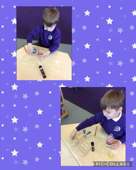 The children have re-used plastic bottles to make shakers for our music lessons.
