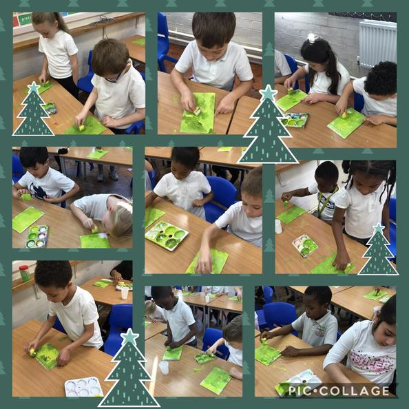 We took great care when painting the backgrounds of our Christmas cards.