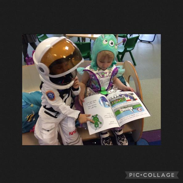 They found a book about space and talked about what they could see in the pictures.