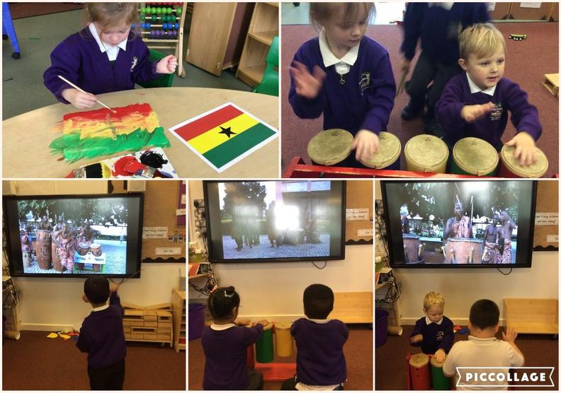 Exploring West African drumming music and creating the Ghanaian flag