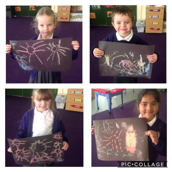 The children used chalks to draw their pictures of fireworks.