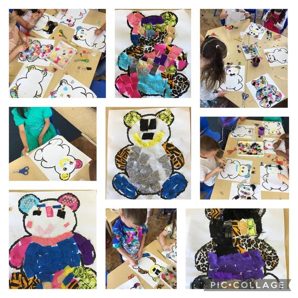 Creating our teddy bear collages in the style of textile artist, Barbara Shaw.