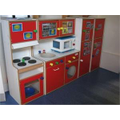 A kitchen role play area in Reception.