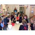 Making the crumble topping !