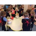Some of us loved getting crumble mix on our hands !