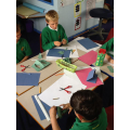 We have been researching the work of Laura Ashley in our Art lessons.  We have taken inspiration from the patterns she created and designed our own patters using coloured paper.  We then made our own block print stencil and experimented with making paint patterns.
