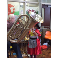 The children tried playing the instruments