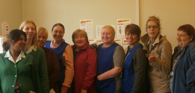 Midday Supervisors (left to right) Mrs Begum, Mrs Desmond, Mrs Aherne  Miss O'Reilly  Mrs Pride, Mrs Jones, Mrs James, Mrs Fitzgerald,  Mrs Sweeney