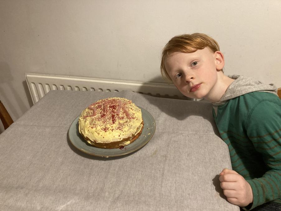 A made a cake to show someone I was grateful.
