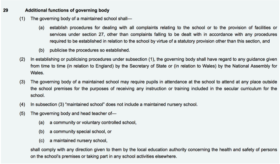 Complaints Procedure to comply with Education Act 2002, Section 29