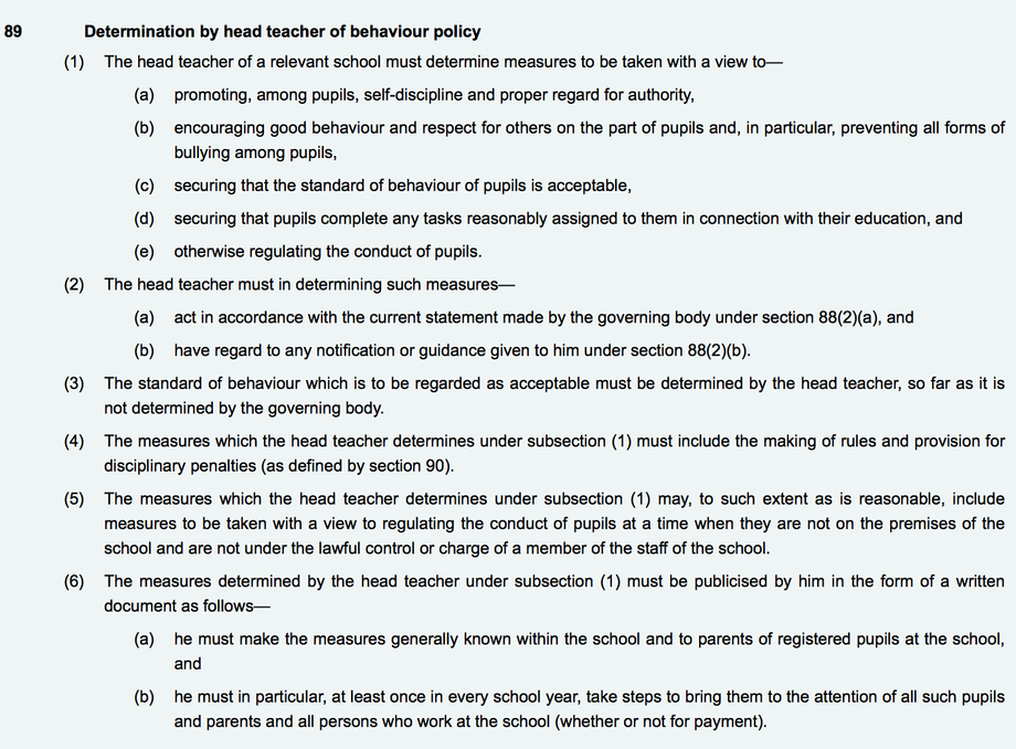 Section 89, Education and Inspection Act 2006
