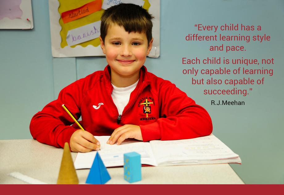 """Pupil sat at desk writing in book looking at the camera with the quote """"Every child has a different learning style and pace.  Each child is unique, not only capable of learning but also capable of succeeding.""""  R.J.Meehan"""