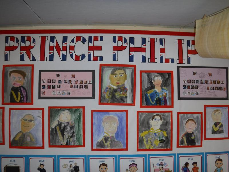 The whole school contributed to a display in memory of Prince Phillip.