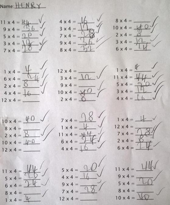 Henry tested himself on his times tables