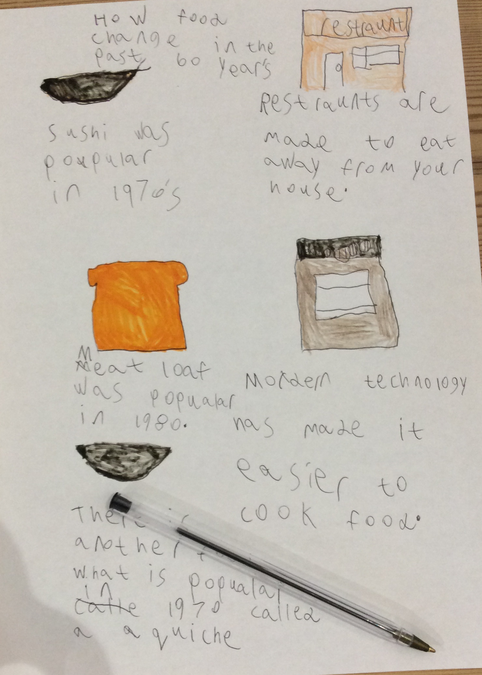 Dougie created a poster about the history of food