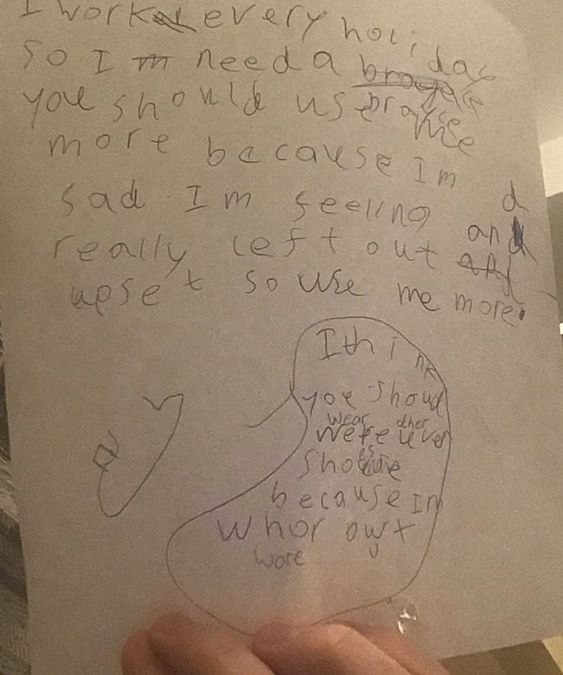 Oliver created a character and wrote an opinion for it
