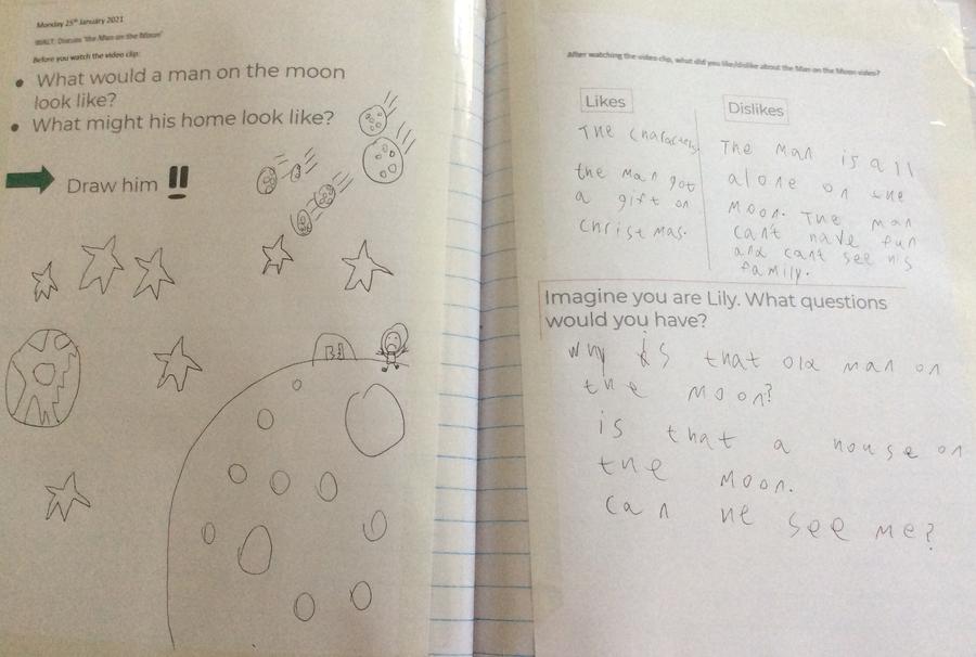 Dougie drew the man on the moon