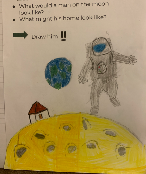 Austin's man on the Moon drawing
