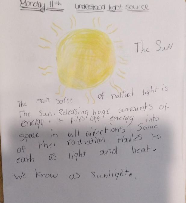 Maddison made a poster about the sun for topic