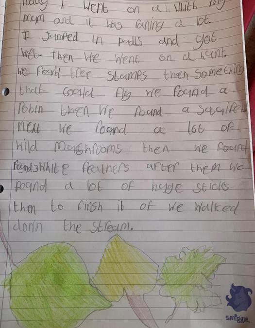 Raya created an amazing story about her nature walk