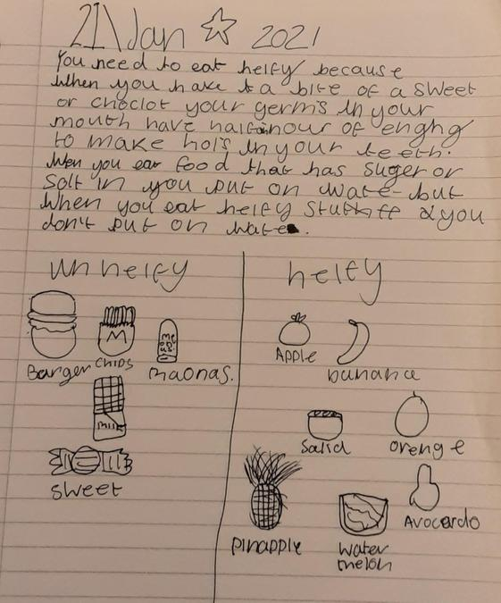 Cerys' poster about healthy eating