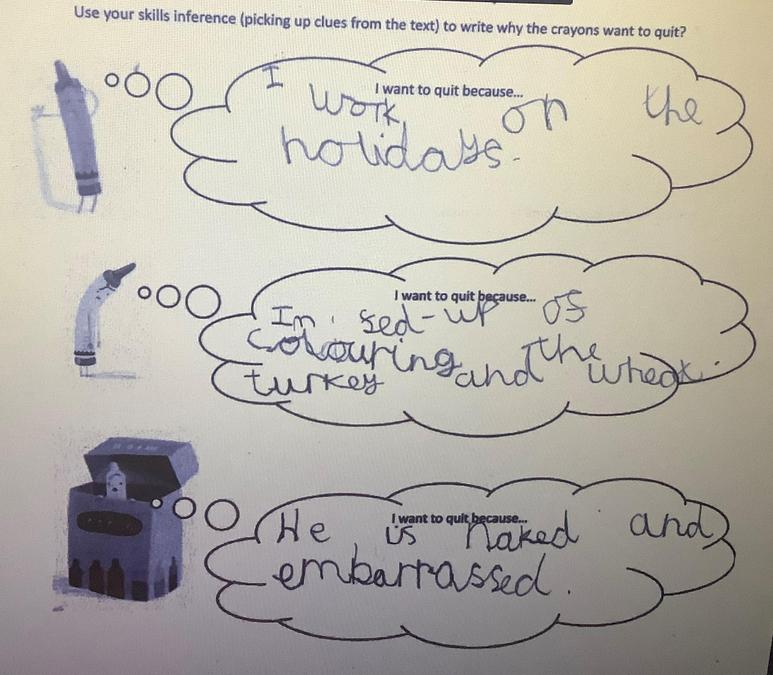 Elsie used inference skills to give opinions to these characters