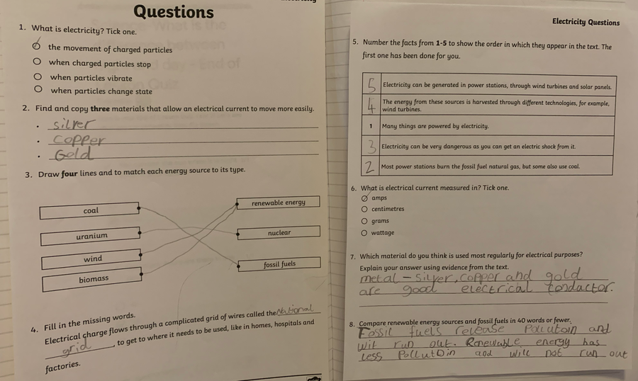 Austin has been answering tricky guided reading questions about electricity