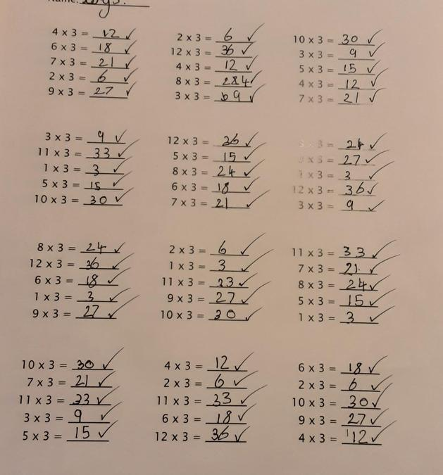 Cerys tested herself on her times tables