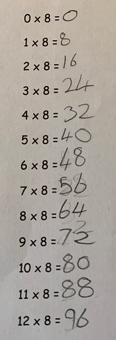 Isla used her previous times table knowledge to help figure out the 8 times table