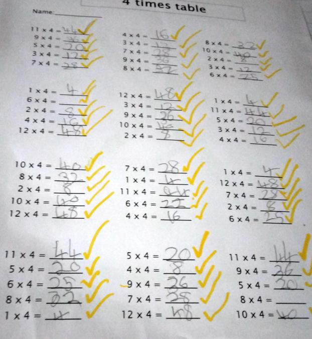 Maddison tested herself on her 4 times tables