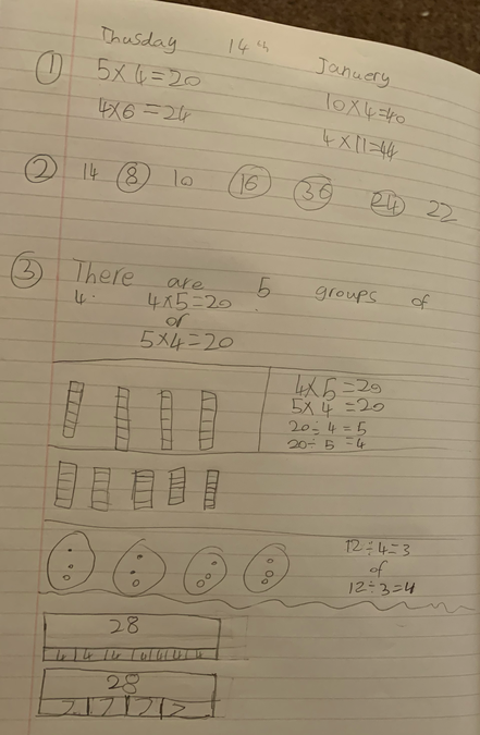 Austin has been practicing his four times table