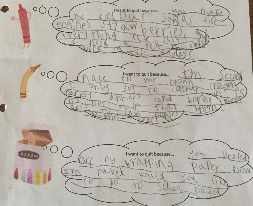 Henry used inference skills to write opinions for characters