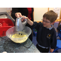 Learning how to use an electric mixer